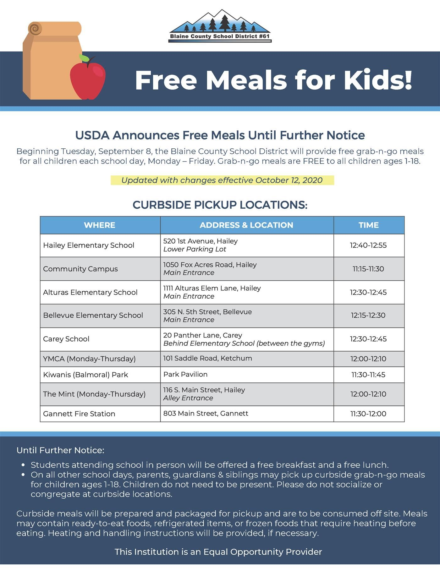 New times for free curbside lunch pickup