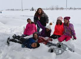 Elementary Students Snow Shoeing