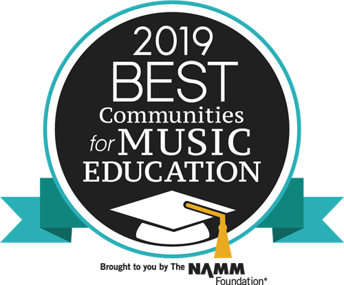 round blue logo for 2019 best communities in music education award