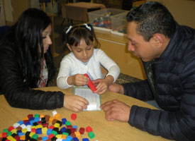 Parents come partake in family day in preschool.