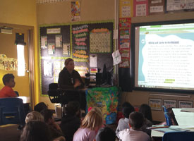 Students learn about the effects that an oil spill has on the environment.