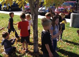 First Graders Find Fall Leaves