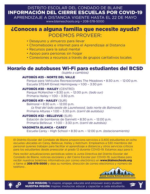 mobile wif-fi schedule in spanish
