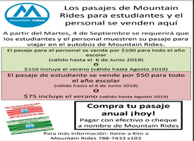 Mountain Rides Bus Pass Spanish