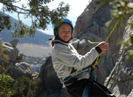Student climbing at City of Rocks National Reserve