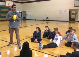 Mr. Torseth teaching Volleyball
