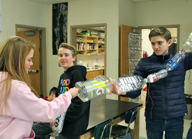 Students creating the watershed