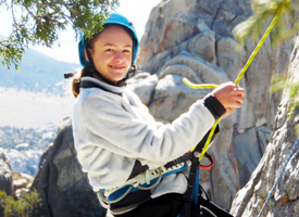 Wood River Middle School Student at city of rocks climbing.