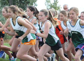 Students running in cross-country race