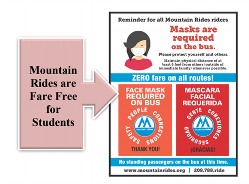 You must wear a mask on a Mountain Rides Bus but fair is free for students.