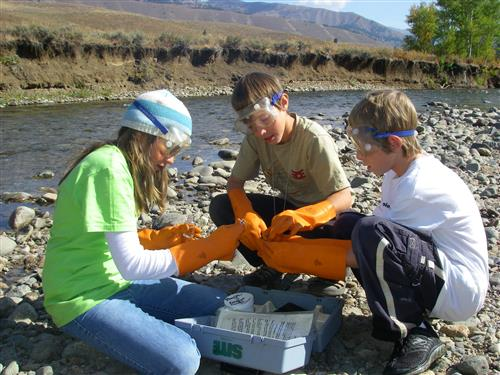 Students near river working with science