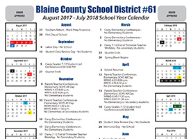 Blaine County School District Yearly Calendar