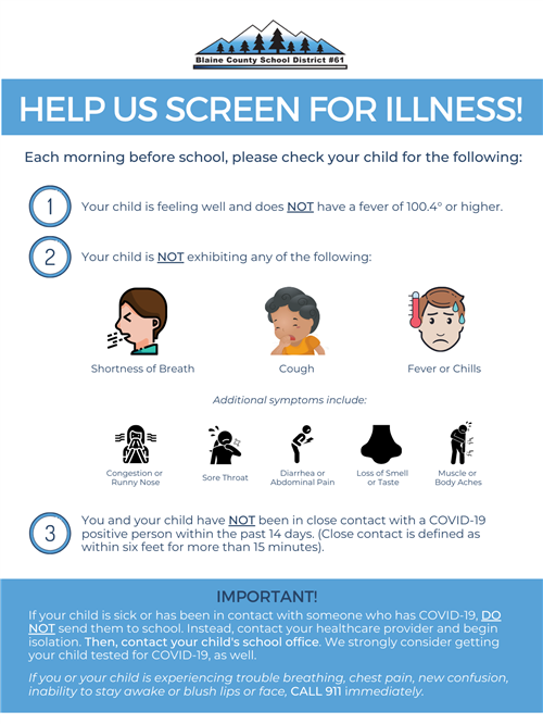 HELP US SCREEN FOR ILLNESS!