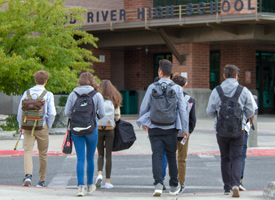 photo of students walking into wood river high school