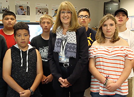 GwenCarol Holmes with students
