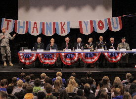 photo of Veterans Day service at Wood River High School in 2014