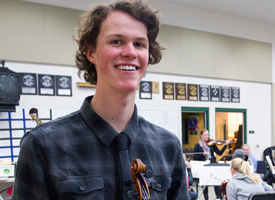 Wood River High School Student with violin