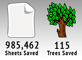 985,462 Sheets Saved and 115 Trees Saved