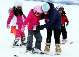 Students skiing
