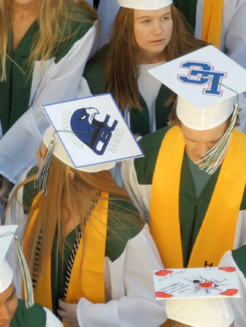 top of graduation caps showing colleges