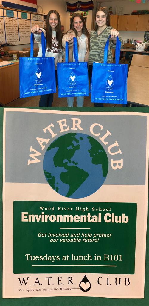 Students holding water club bags