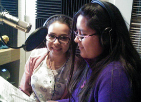 Two Wood River Middle School Students at KDPI radio station
