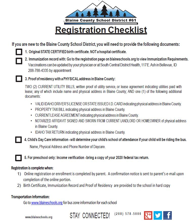 photo of registration checklist