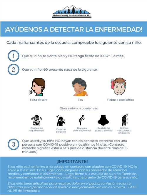 Screen for Illness COVID Poster Spanish