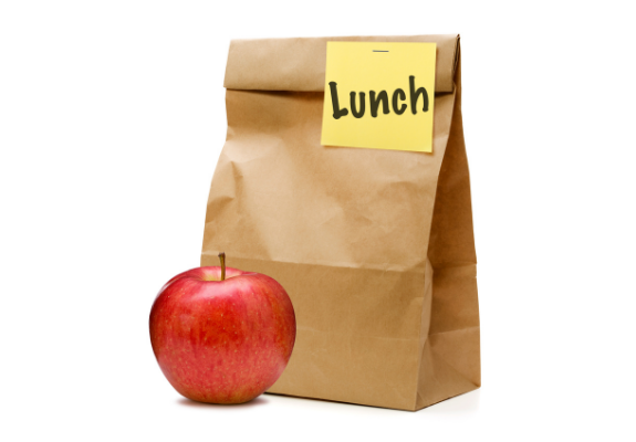 Brown Lunch bag with Apple