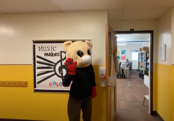 Bellevue Bear in Front of Music Room