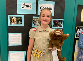 Student teaching about Jane Goodall